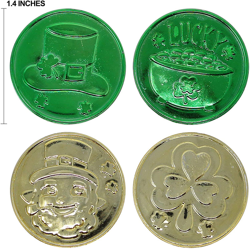 Lucky Leprechaun Plastic Coins and Large Green Cauldron