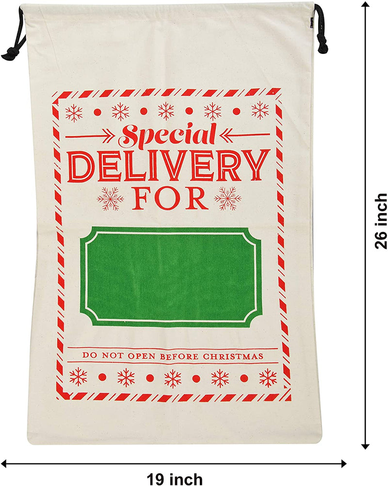 Christmas Santa Gift Bags Burlap Sack with Drawstring