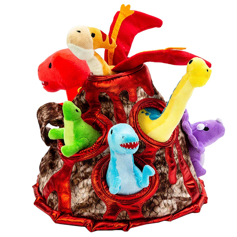 Play-act Dinosaur Volcano Cave Plush Toy Carrying Case