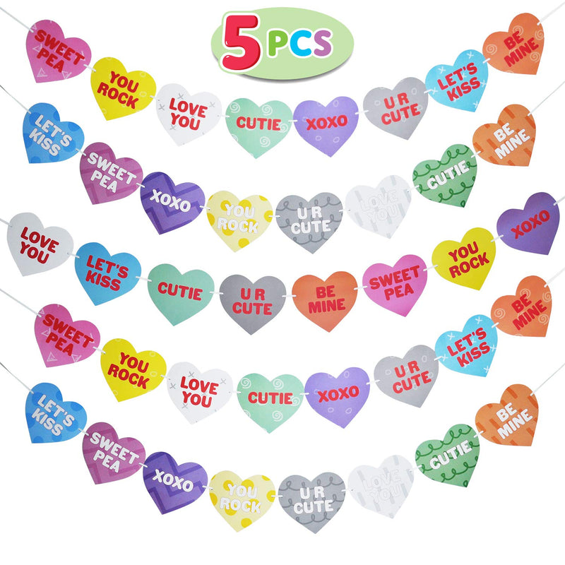 Valentines Day Candy Hearts Garland Banners