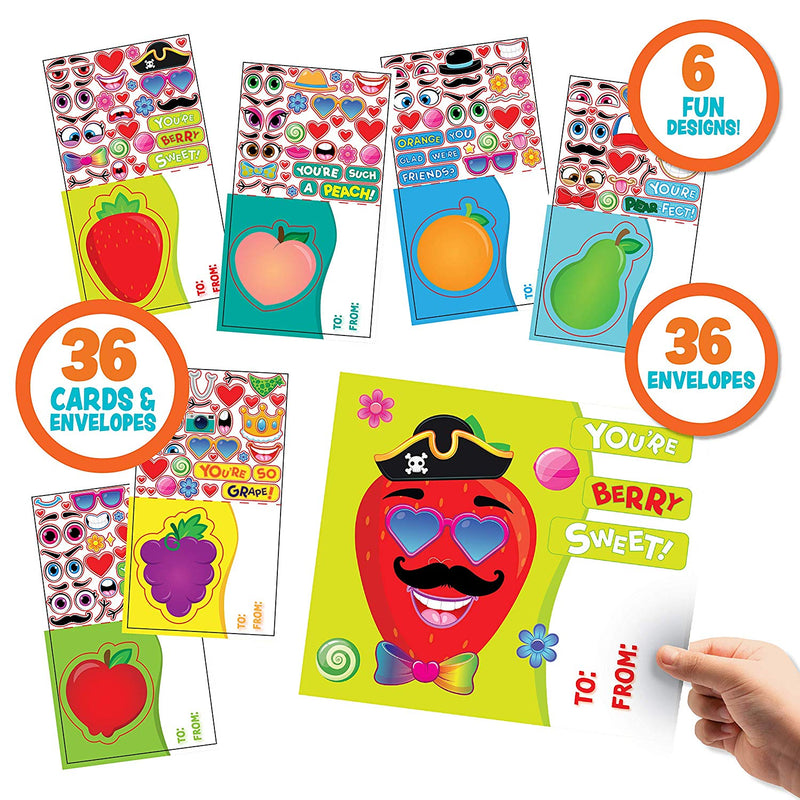 Make-a-Face Valentine Cards with Fruit Design