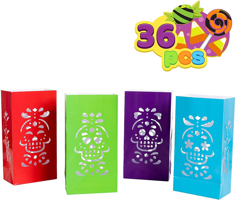 36 Piece Halloween Day Of The Dead Luminary Bags