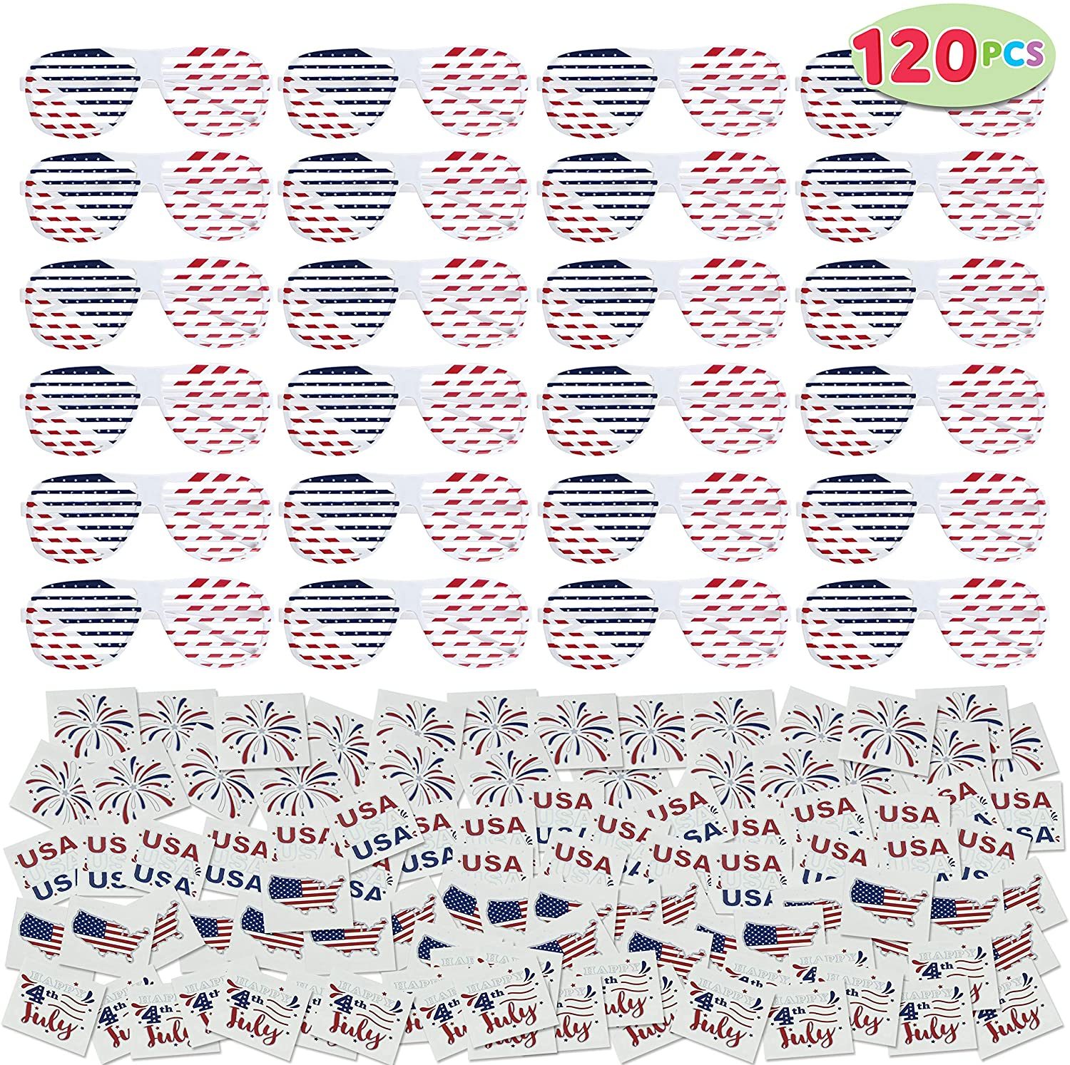 120 Pcs Patriotic Party Favor