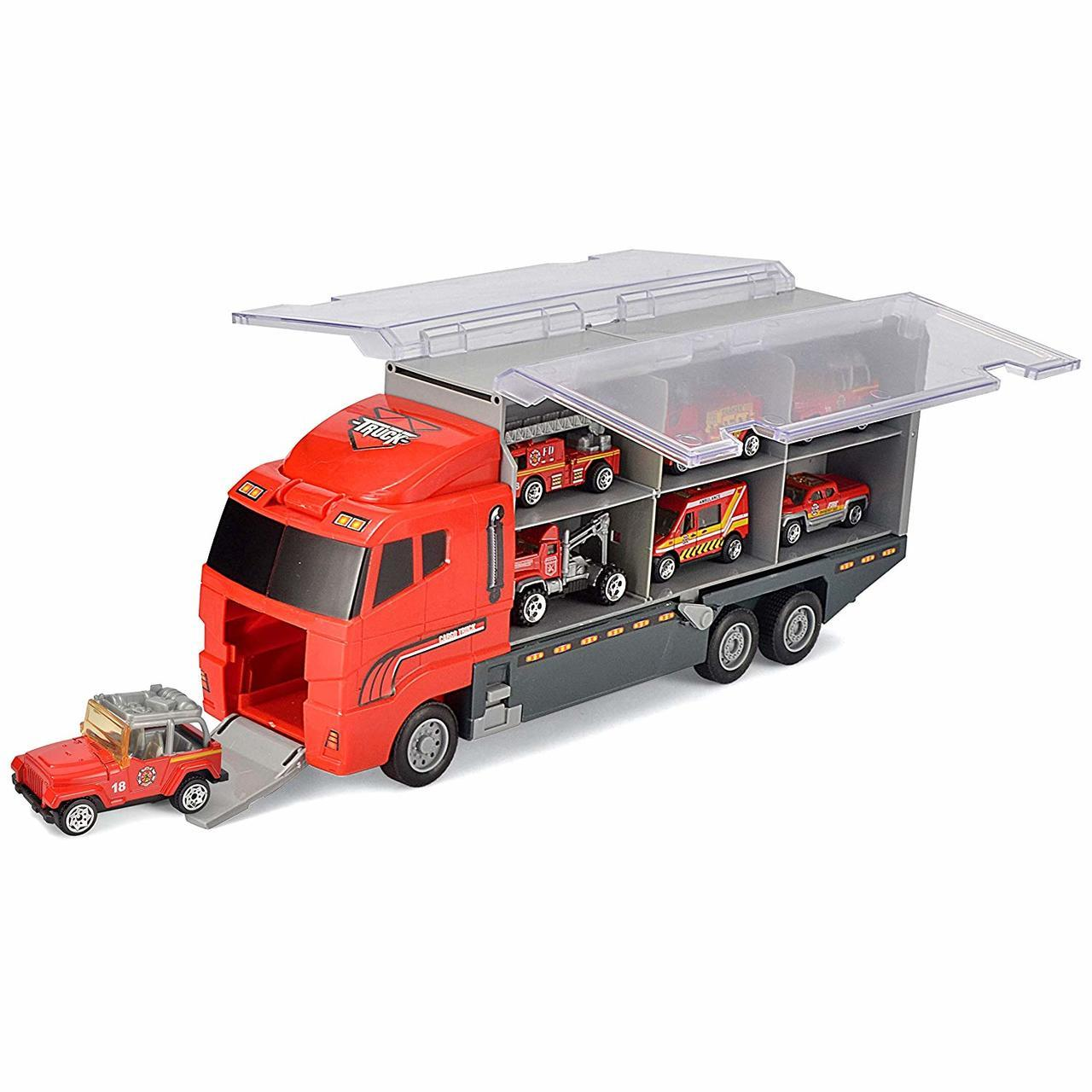 Die-Cast Fire Engine Vehicles with Carrier Truck 11-Piece Set