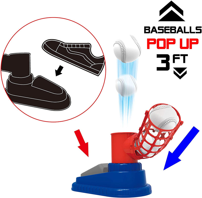 STEP-ON BASEBALL PITCHING MACHINE TOY SET