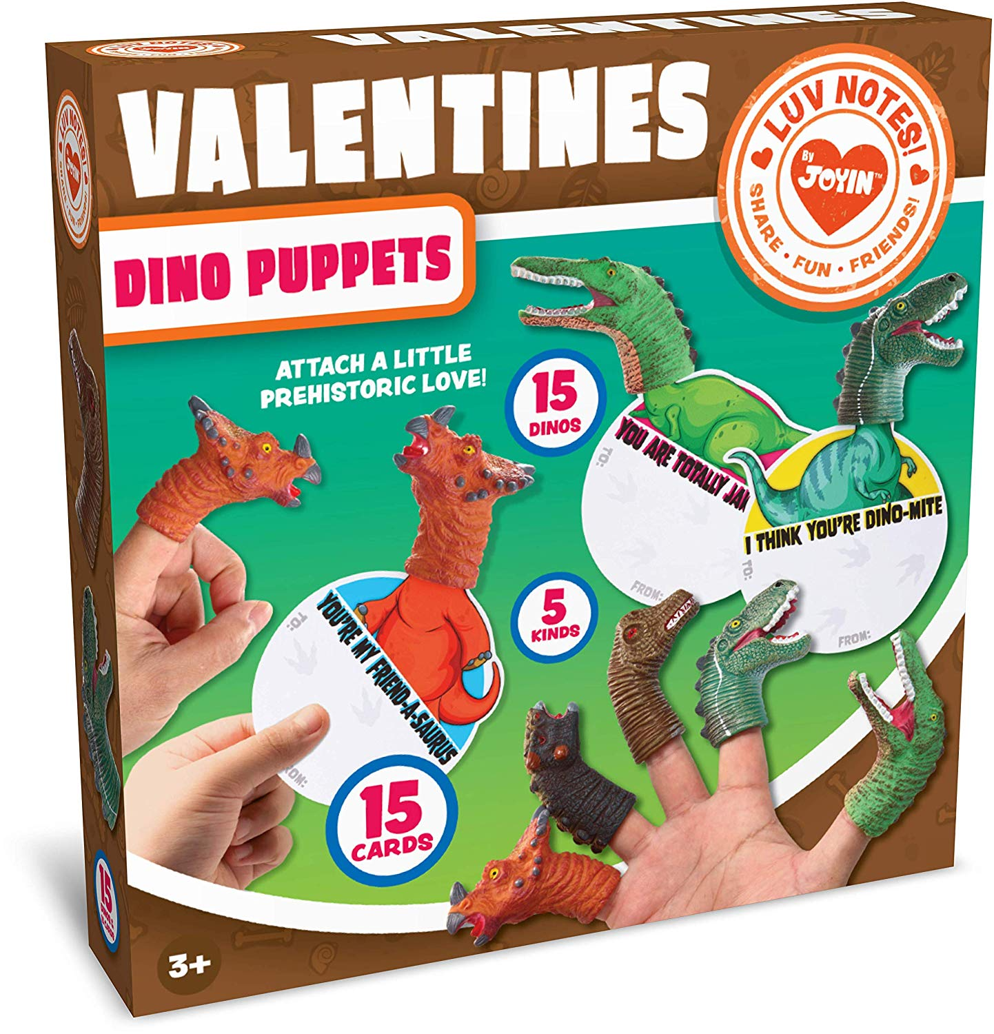 Valentine Gift Cards with Dinosaur Finger Puppets
