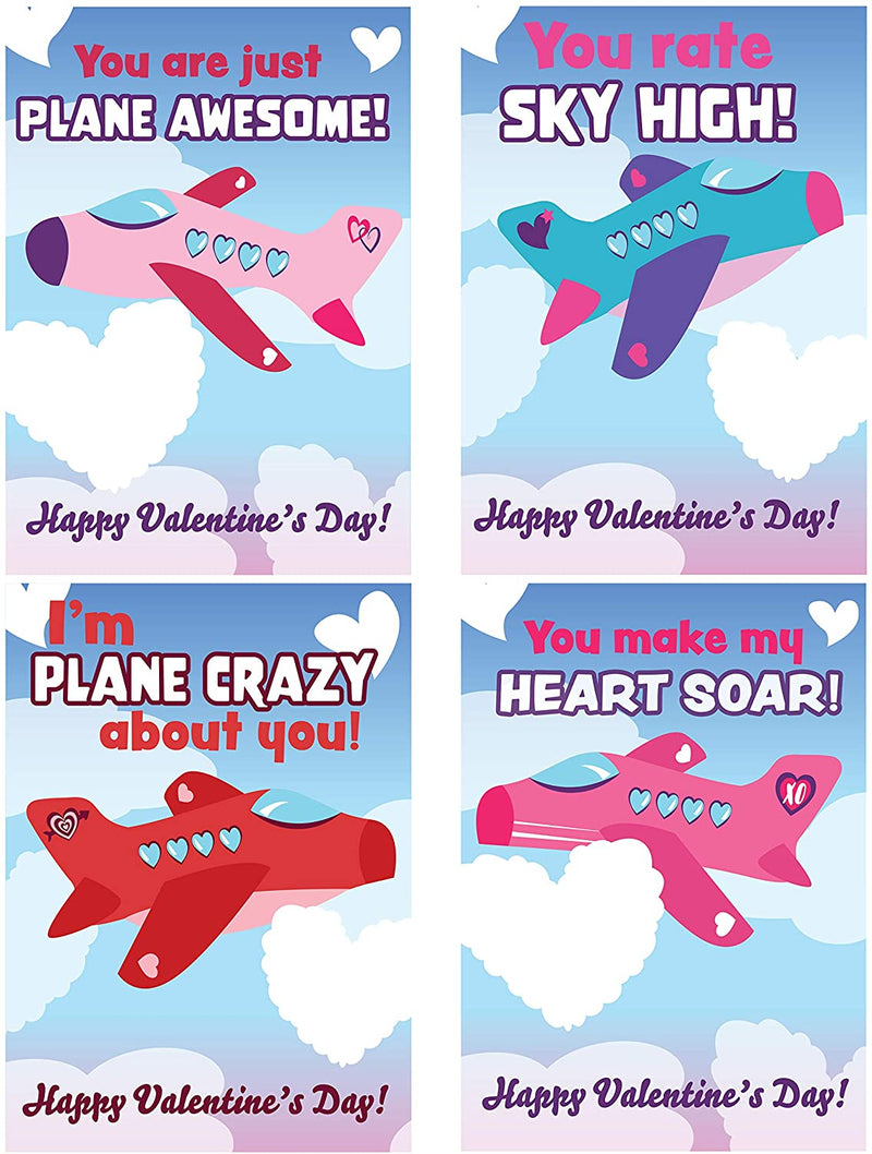 28 Pcs Valentines Day Foam Airplanes for Kids with Gifts Cards