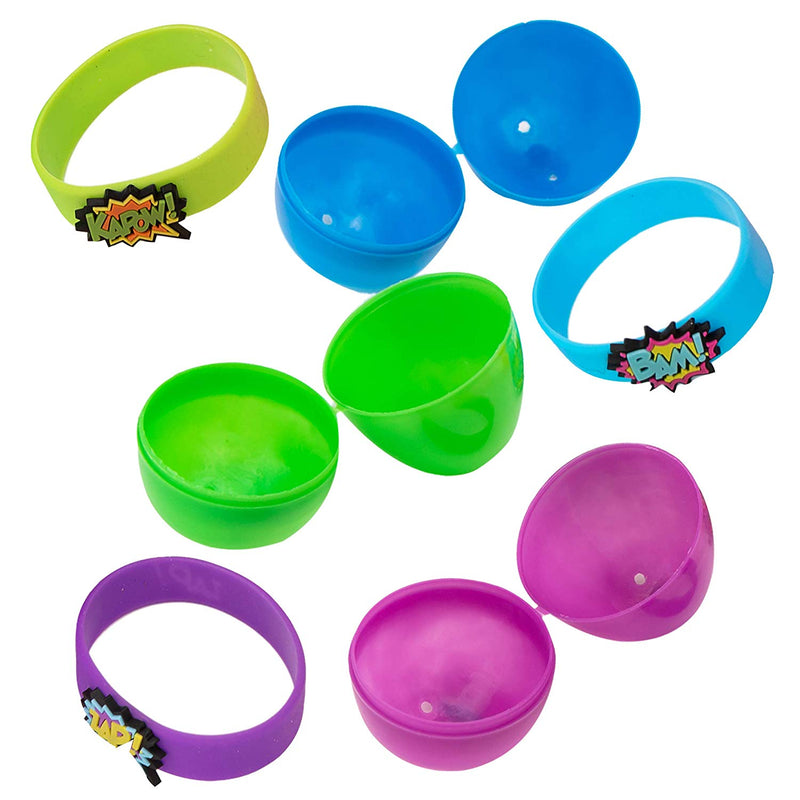 24 PCS PREFILLED EASTER EGGS WITH SUPERHERO RUBBER BRACELETS