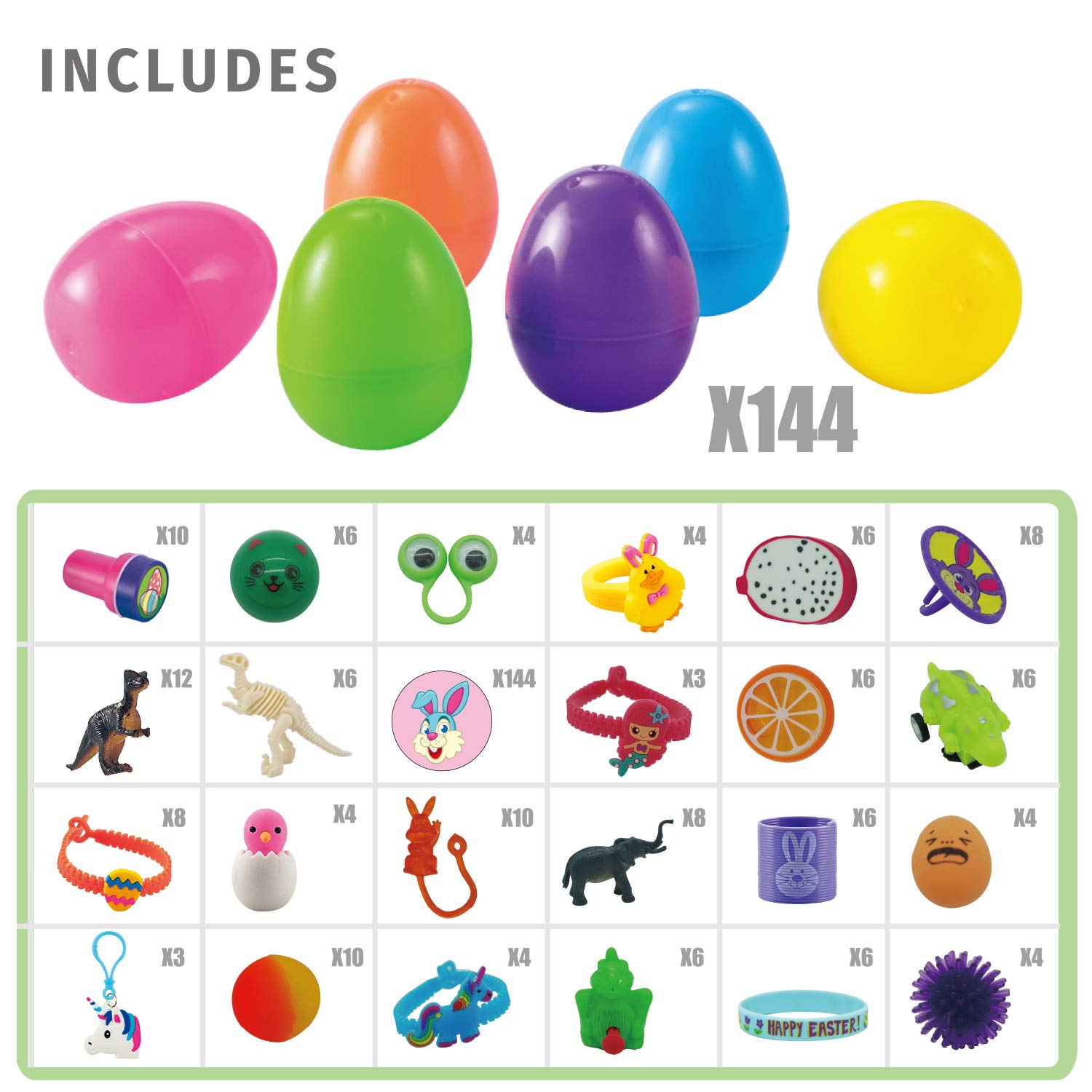 144 Pcs Prefilled Premium Easter Eggs