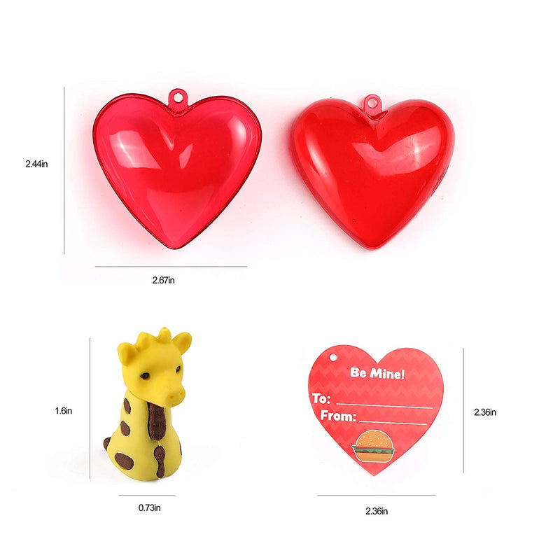 Valentines Party Favor Set with 28 Animal Erasers
