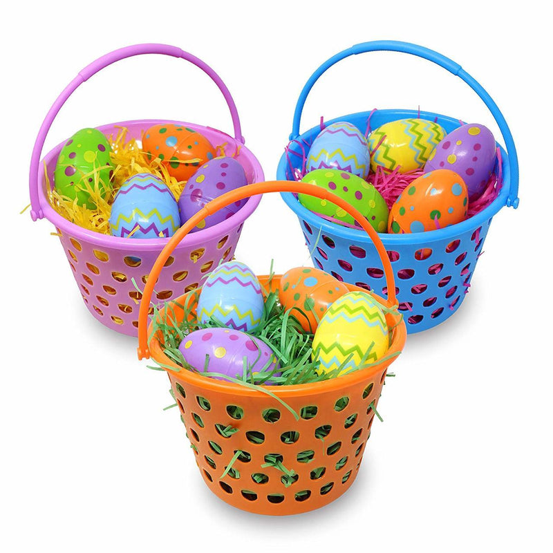 "Easter Egg Baskets (8"") with Tri-color Grass, 6-Pack"