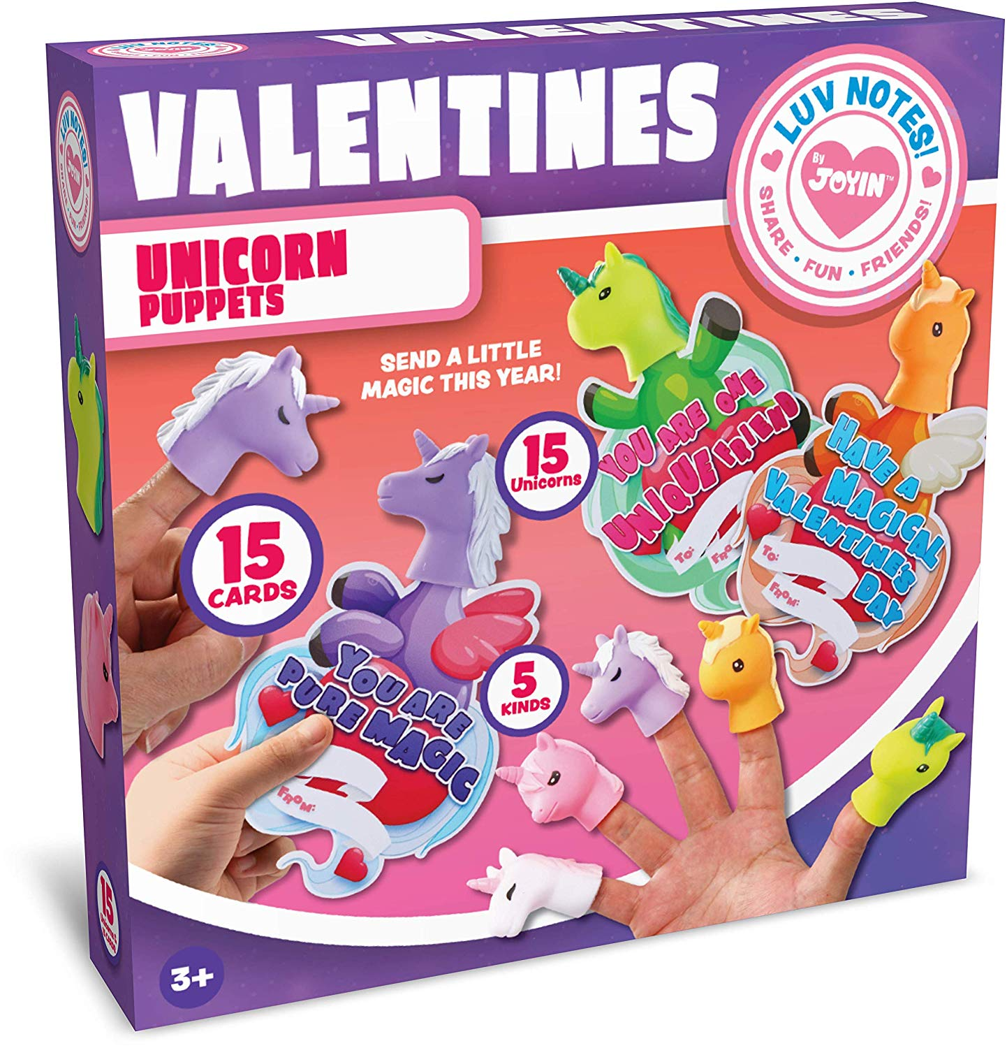 Valentine Gift Cards with Unicorn Finger Puppet