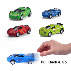 "15"" Transport Car Carrier Truck Toy with 6 Pull Back Metal Cars and 6 Metal Race Cars"