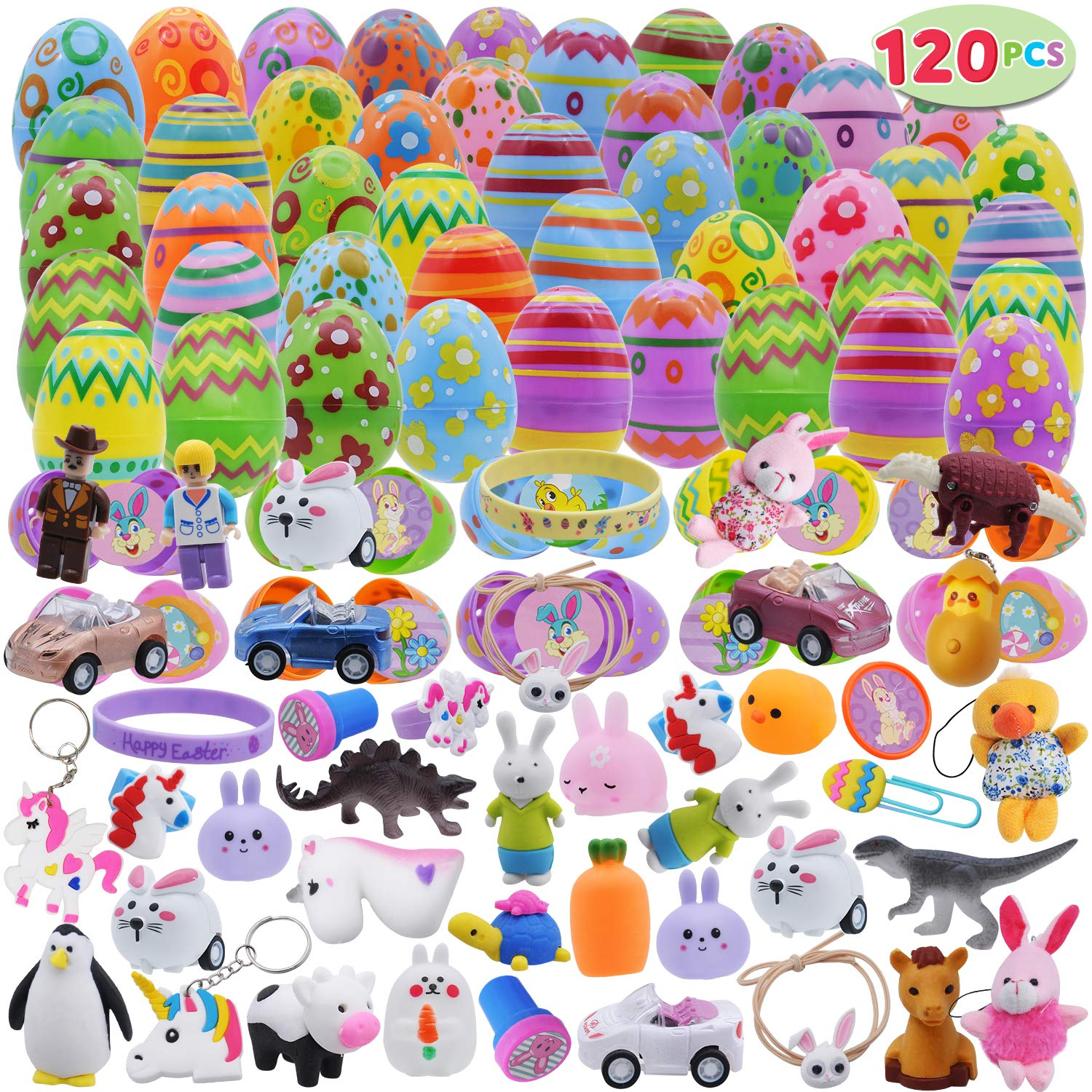 120 Pcs Prefilled Premium Printed Easter Eggs