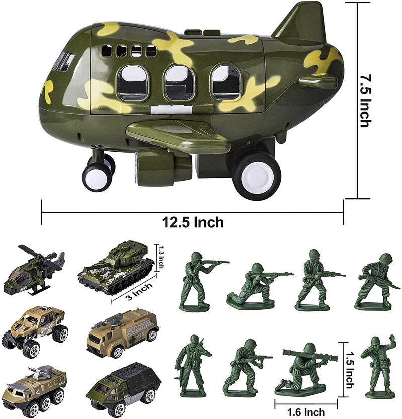 15 Piece Military Friction Powered Transport Cargo Airplane Toy