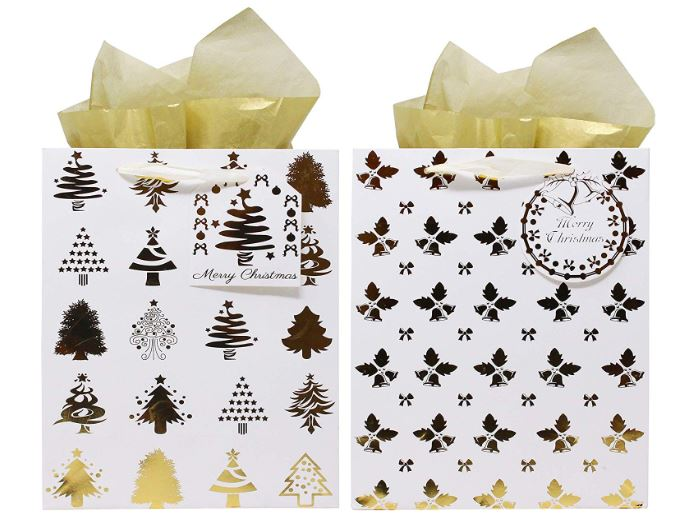 12 Pack Christmas Holiday Foil Gold Gift Bags with Tissue Papers and Name Card Tags