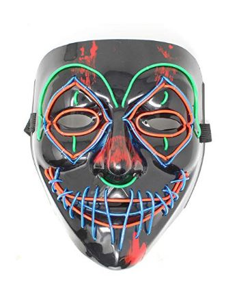 Halloween Cosplay LED Mask Light Up Scary Clown Mask