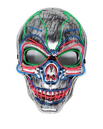 Halloween Cosplay LED Mask Light Up Scary Skull/Clown Mask