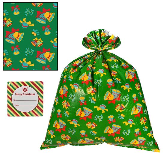 "6 Pieces Christmas Giant Goody Gift Bags, Jumbo Size 43"" X 36"", W/Tie & Name Card Assortment"