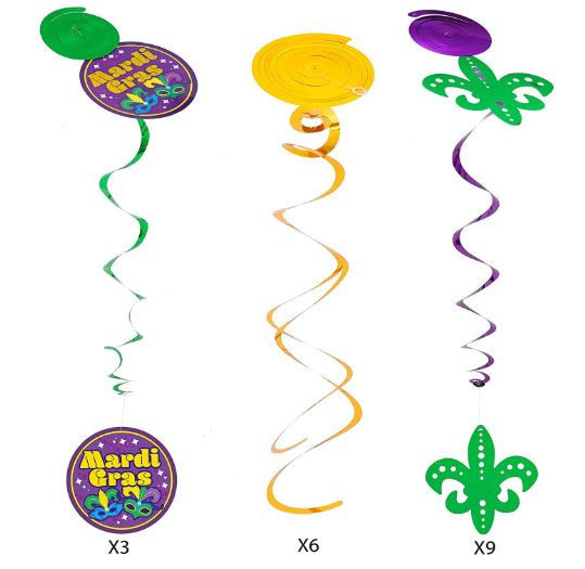 24 ASSORTED MARDI GRAS PARTY DECORATIONS