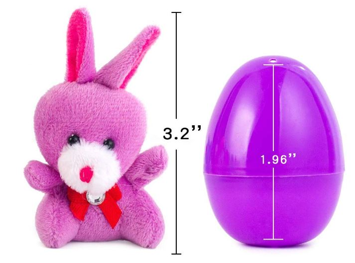 "12 PCs Filled Easter Eggs with Plush Bunny, 2.25"" Bright Colorful Easter Eggs"