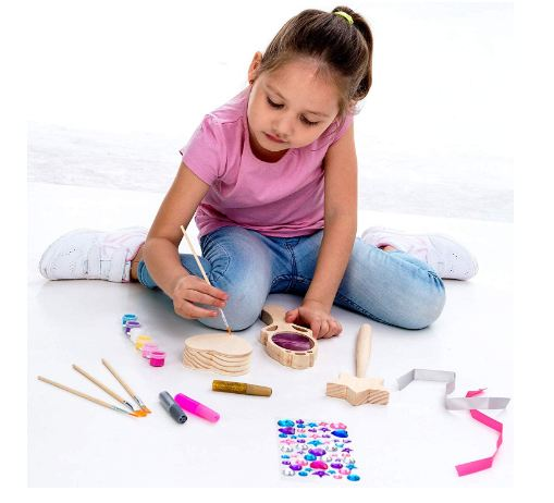 Klever Kits Kids Craft Kit Decorate & Paint Your Own Wooden Princess Accessories Art & Craft Kit DIY