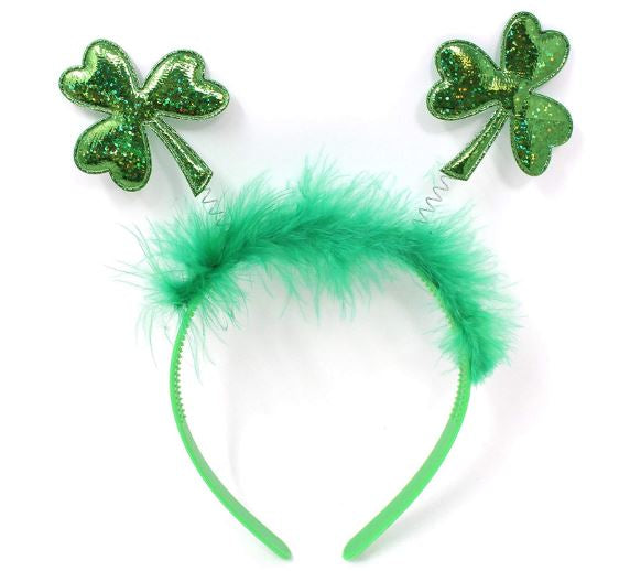 6 PACK ST. PATRICK'S DAY GREEN SHAMROCK CLOVER HEADBANDS/TOP HAT SAINT PATRICK'S COSTUME ACCESSORIES