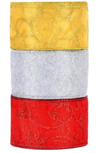 3 COLORS CHRISTMAS THICK RIBBON ROLLS