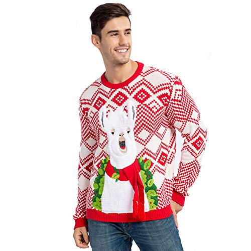 Men's Christmas Ugly Sweater Fuzzy Llama Alpaca