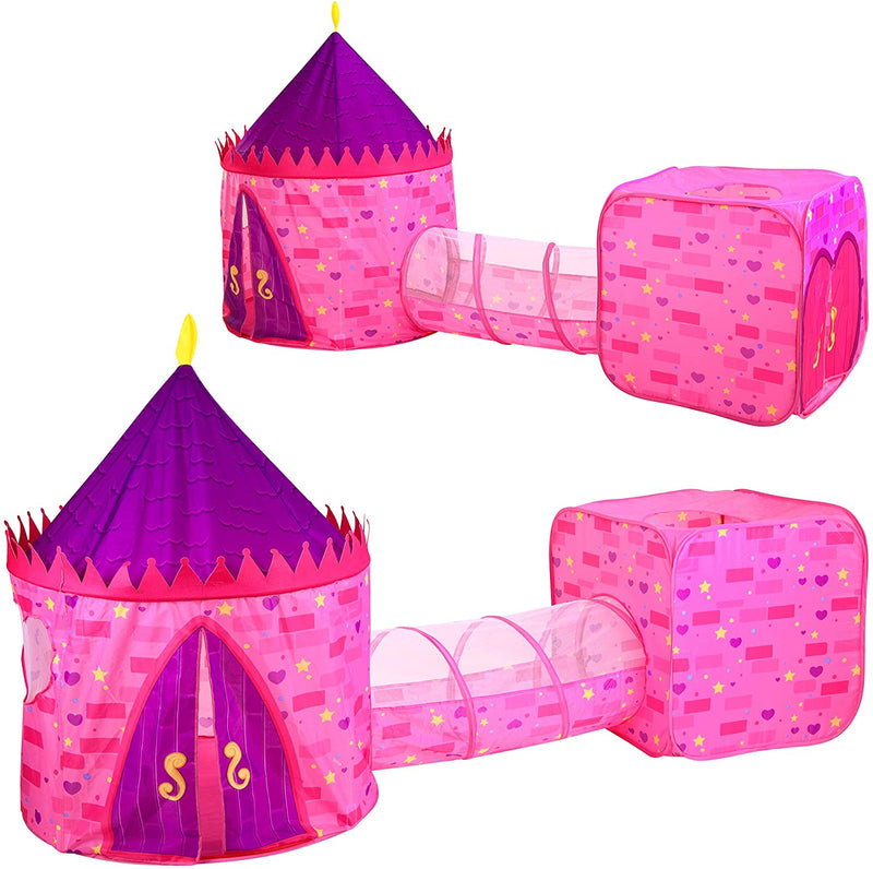Pink Castle Repeated Pattern Tent with Tunnel and Playground Set