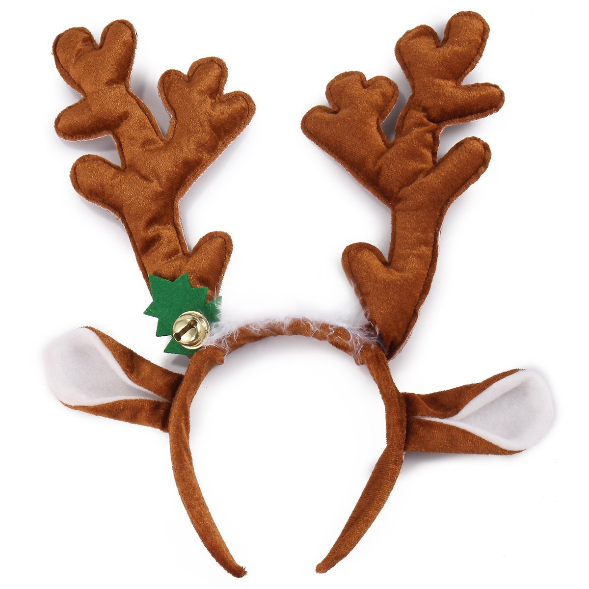 Reindeer Antler Headband Set with LED Red Nose and Gold Glasses