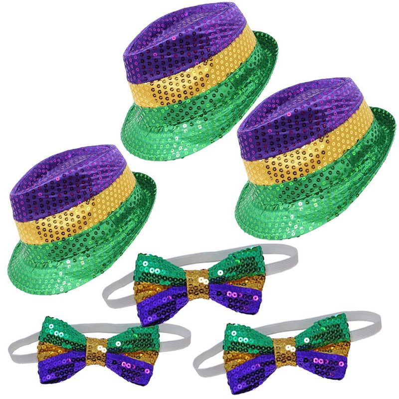 Mardi Gras Hats and Bow Ties Set