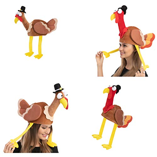 2 Pack Turkey Gobbler Hats for Thanksgiving