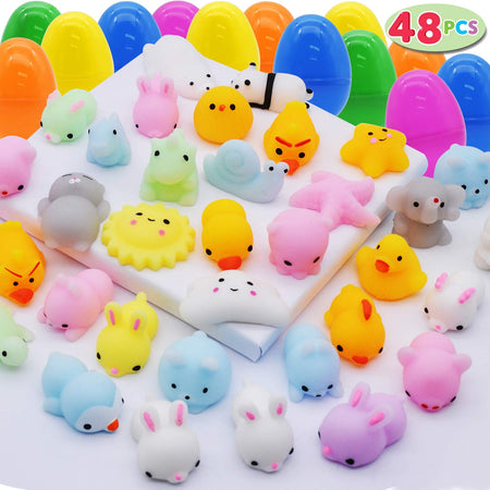 48 PCS MOCHI SQUISHY PREFILLED EASTER EGGS
