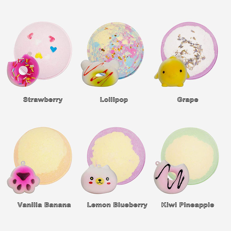 6 Piece, Bath Bombs with Squishy Toys