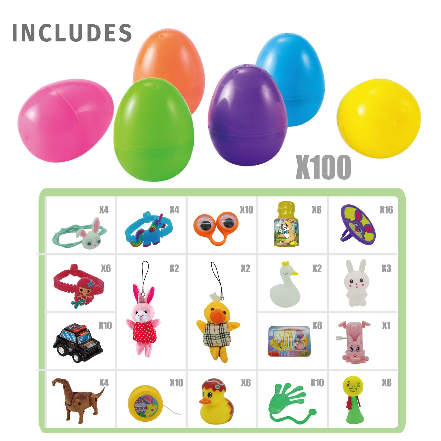 "100 Pcs 3"" Prefilled Premium Easter Eggs"
