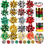 46 Self Adhesive Bows & 8 Rolls of Christmas Curling Ribbons