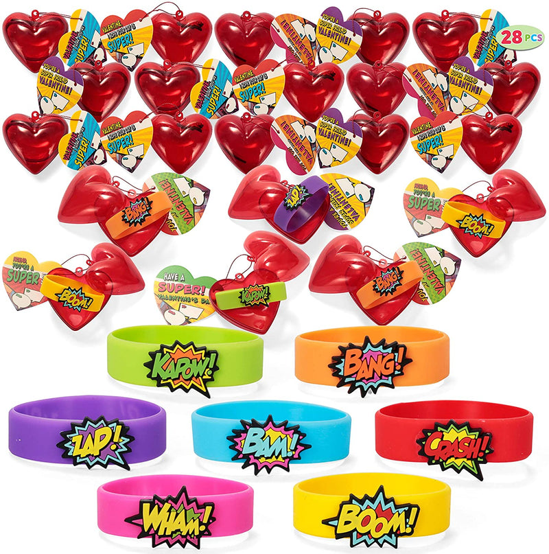 28 Pcs Valentines Day Prefilled Hearts with Power Bracelets for Kids