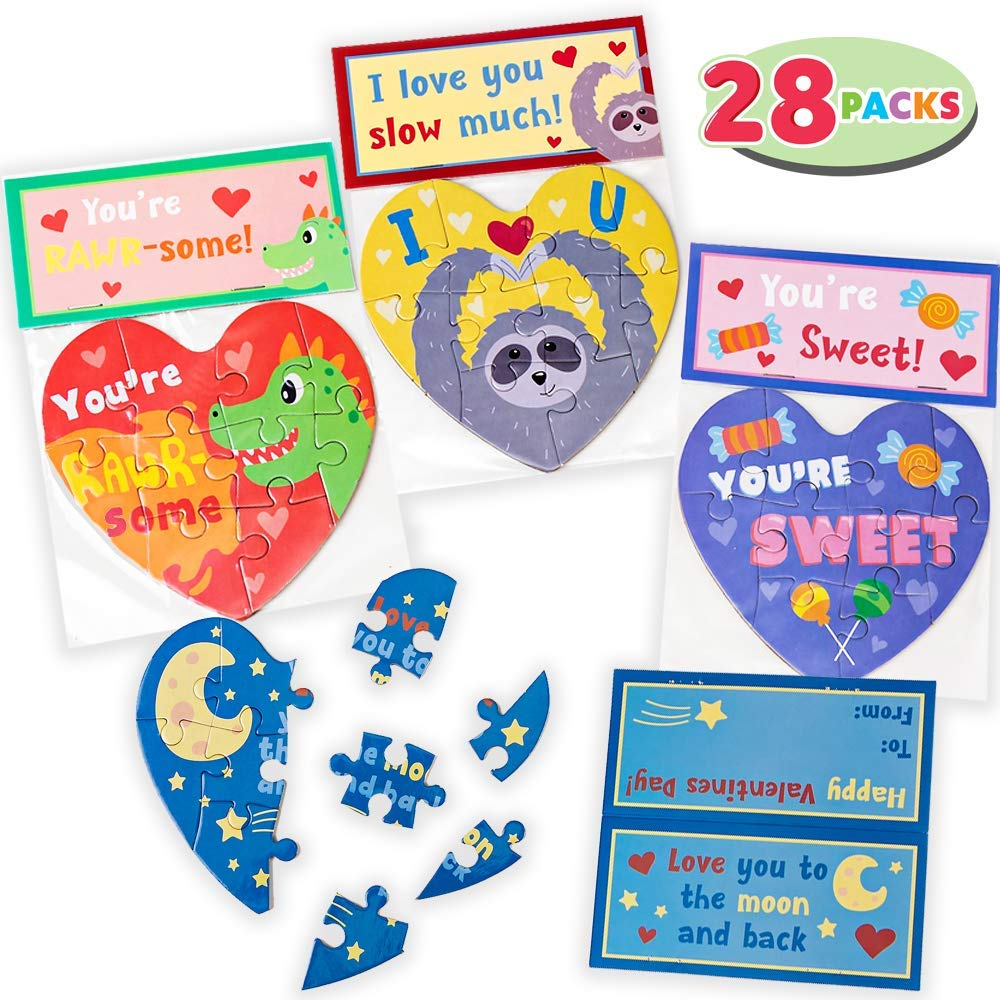 Valentine Cards with Heart Jigsaw Puzzle Set