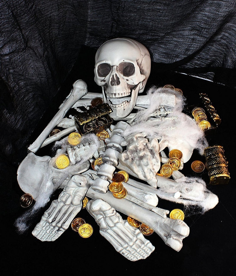 136 Pieces Halloween Decorations including 28 PCs Halloween Bones 100 Pirate Coins and Spider Webs