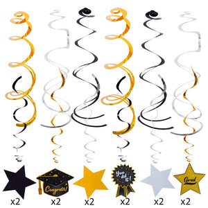 Graduation Party Hanging Swirls Strings Banner