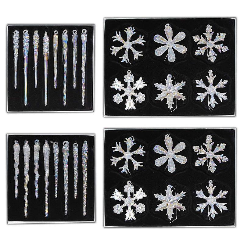 "2.4"" Glass Iridescent Snowflake and Icicle Ornaments"