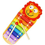 Wood Instrument Lion Shape with 8 Bright Multi-Colored Keys and 2 Wooden Mallets