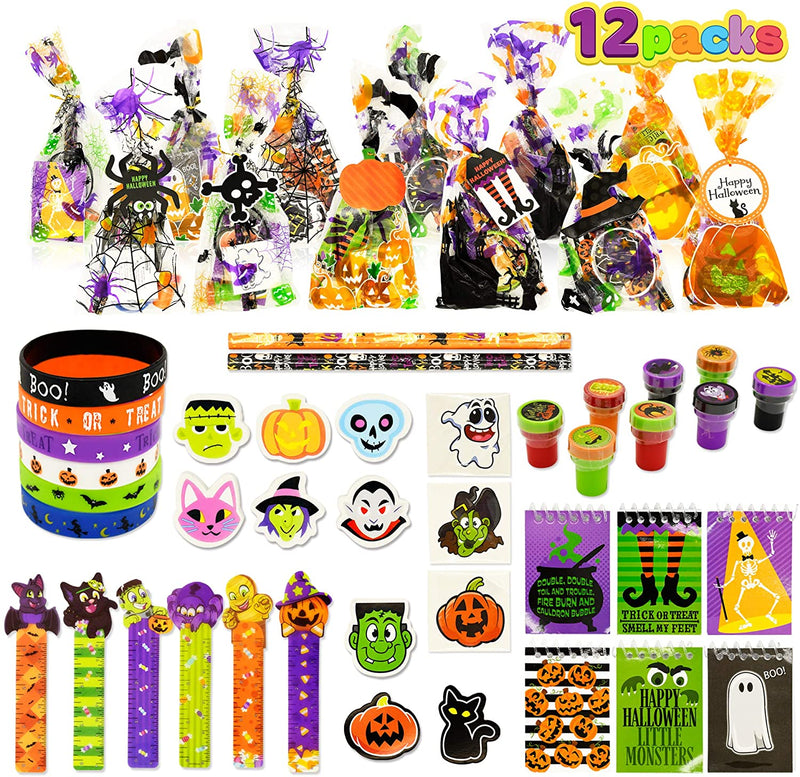 12 Pack Prefilled Goody Bags with Halloween Gift Tag