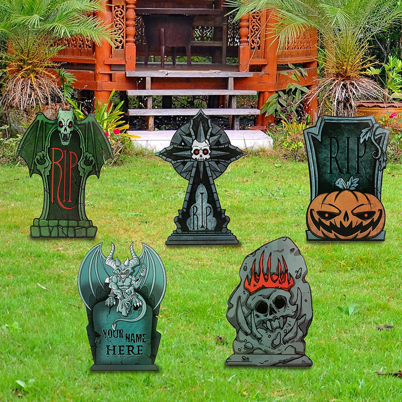 Halloween Tombstone Yard Decorations, 9 Pack