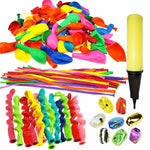 180 Pieces Party Balloons Assorted Color Latex Balloons 3 Style with Hand Held Air Inflator and 8 Colors of Crimped Curling Ribbons