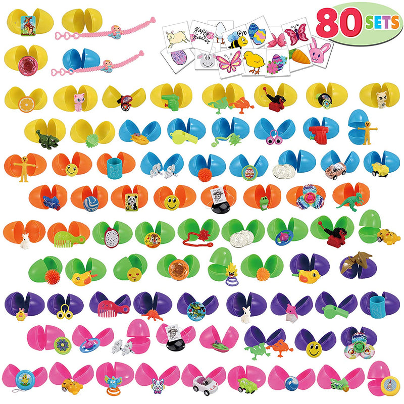 EASTER EGGS WITH NOVELTY TOYS AND STICKERS, 80 PACKS