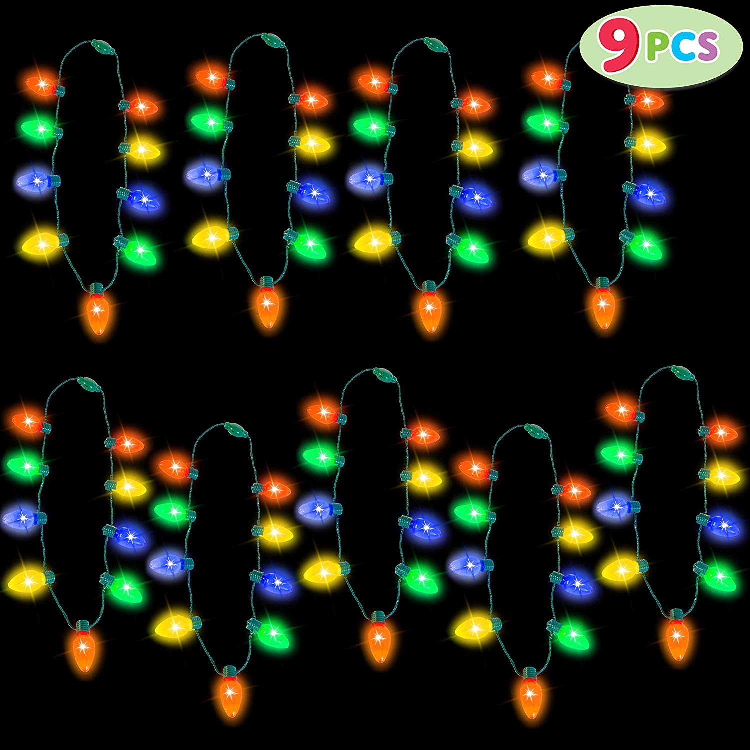 9 Piece Christmas Light Up Necklaces