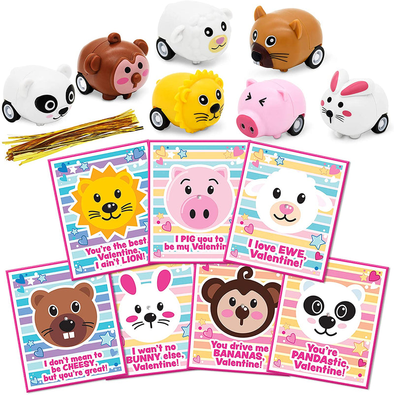 28 Packs Animal Pull-Back Car with Valentine Gift Cards