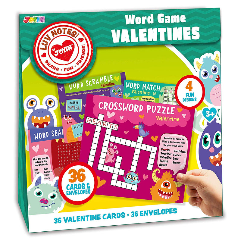 Valentine Gift Cards with Word Game Cards